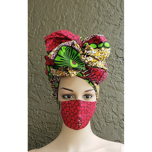 African Print Mask and Scarf Headwrap Head Wrap Set - Red
