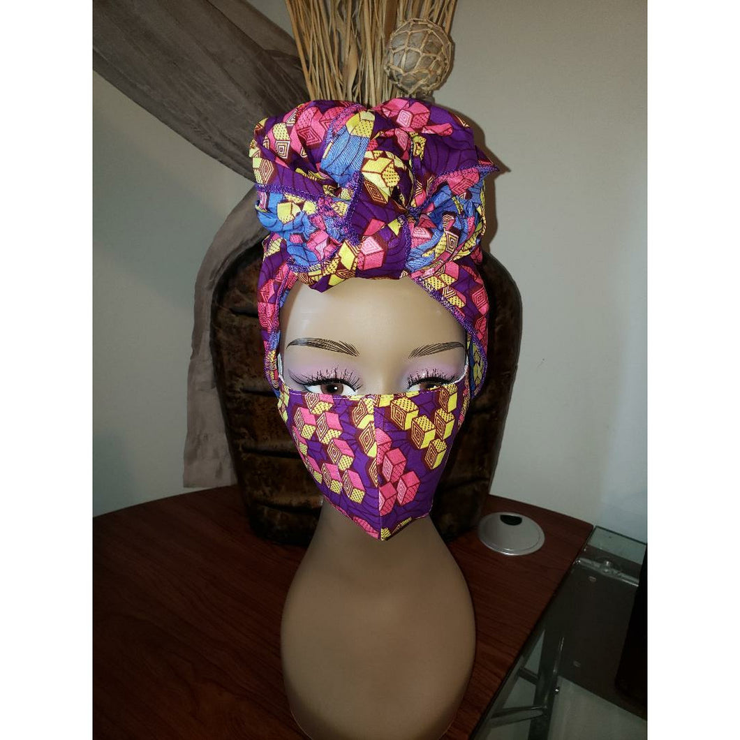 African Print Mask and Headwrap Set - Purple/Pink Pattern
