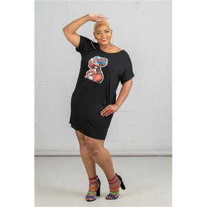 Jersey Dress with Face Motif and Jewelry Embellishments - Black