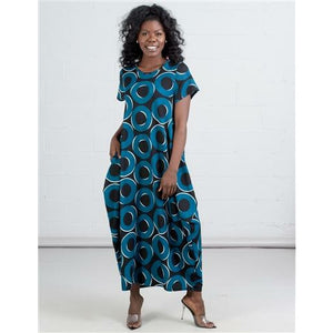 Long Printed Bubble Dress - One Size Fits Most S-2XL- Black/Blue