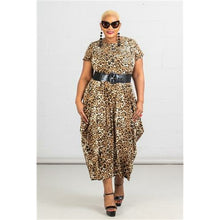 Long Printed Bubble Dress - One Size fits S-2XL - Brown Cheetah