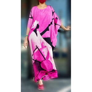 Tribal Hand Painted Kaftan Dress- Pink - One Size Fits S-2XL
