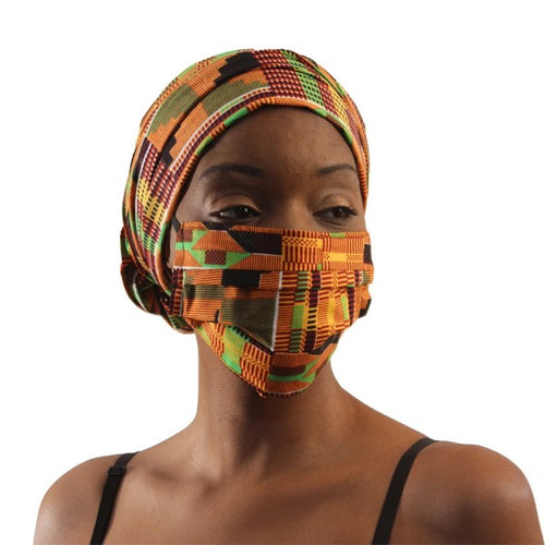Kente African Print Headwrap and Mask Scarf Head Wrap Set
