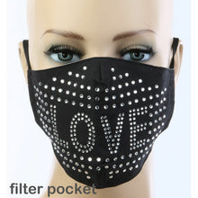 Crystal Rhinestone Bling Love Mask with Filter Pocket