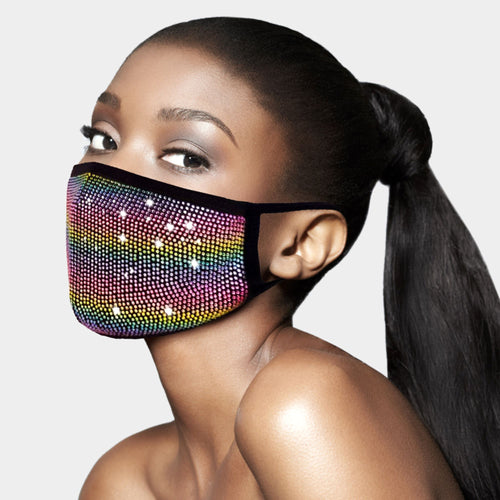 Swarovski Crystal Like Bedazzled Rhinestone Diamond Bling Cotton Fashion Face Mask with Filter Pocket & FREE FILTER - Rainbow