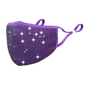Swarovski Crystal Like Bedazzled Rhinestone Diamond Bling Cotton Fashion Face Mask with Filter Pocket & FREE FILTER - Purple