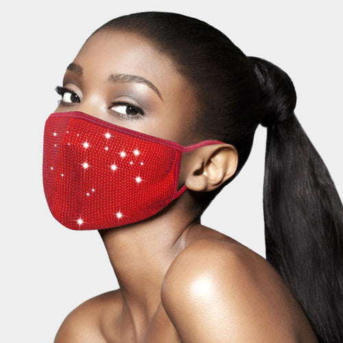 Swarovski Crystal Like Bedazzled Rhinestone Diamond Bling Cotton Fashion Face Mask with Filter Pocket & FREE FILTER - Red