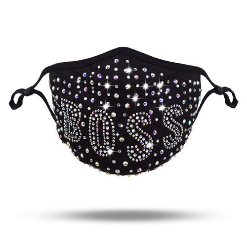 Crystal Rhinestone Bling Boss Mask with Filter Pocket