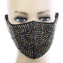 Crystal Rhinestone Bling Waterproof Fashion Face Mask - Multicolor