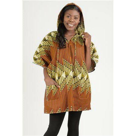 African Print Hoodie Top - One Size Fits Most - S-2XL