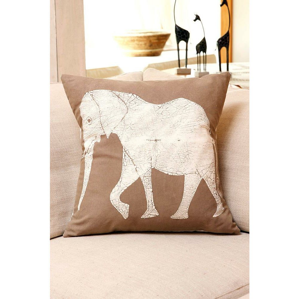 Zambian Hand Painted Dry Season Elephant Pillow Cover
