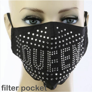 Crystal Rhinestone Bling Queen Mask with Filter Pocket & Nose Wire