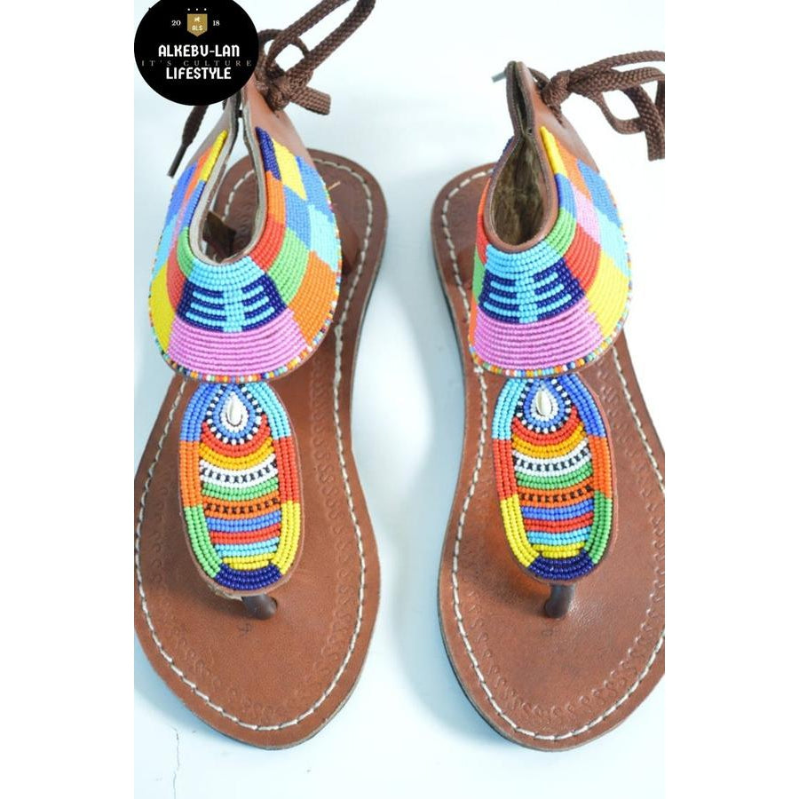 African beaded handmade leather sandals - Alkebulan Lifestyle