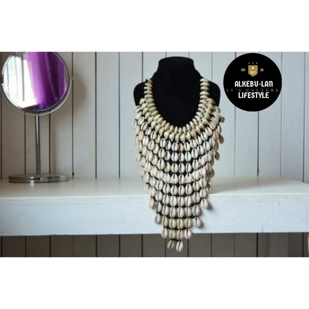 African inspired cowrie sea shell necklace - Alkebulan Lifestyle