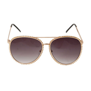 Rhinestone Aviator Sunglasses - Black