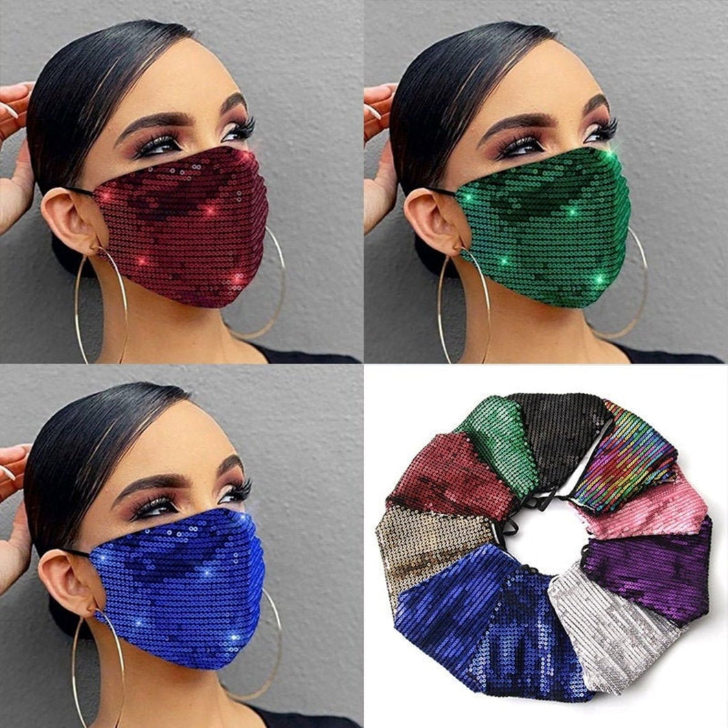 Sequin Glitter Mask Sparkly Bling Fashion Face Mask with Filter Pocket