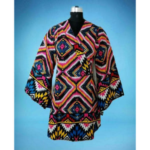 Women Printed Wrap Blouse/Long Bell Sleeves- Multi Color