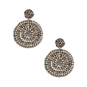 Silver Bead Embroidered Earrings