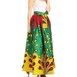African Print Ankara Long Maxi Skirt- Peacock - One Size Fits S to 3XL