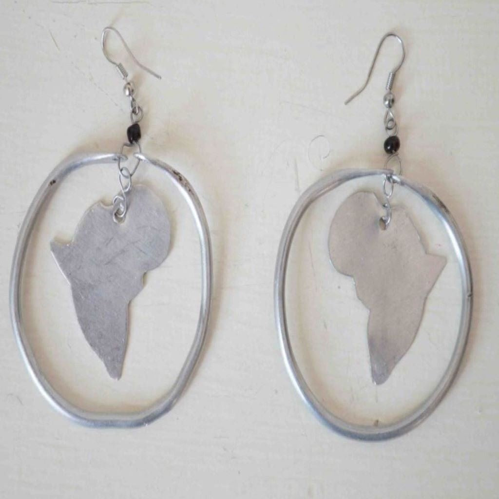 Silver African inspired map earrings