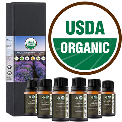 Top 6 - 10ml (Certified Organic) Essential Oil Aromatherapy Starter Kit