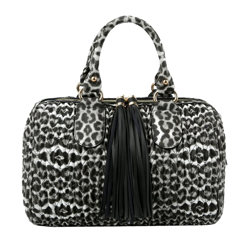 Quilted White Leopard Handbag