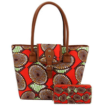 Red and Black Circle Print Leather Tote Set