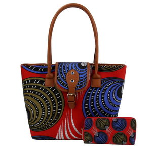 Red and Blue Circle Print Leather Tote Set