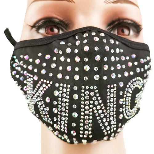 Crystal Rhinestone Bling Mask with Filter Pocket - King