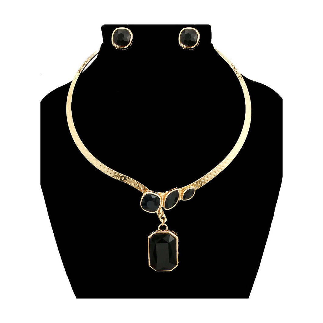 Black Stone Choker Necklace Set