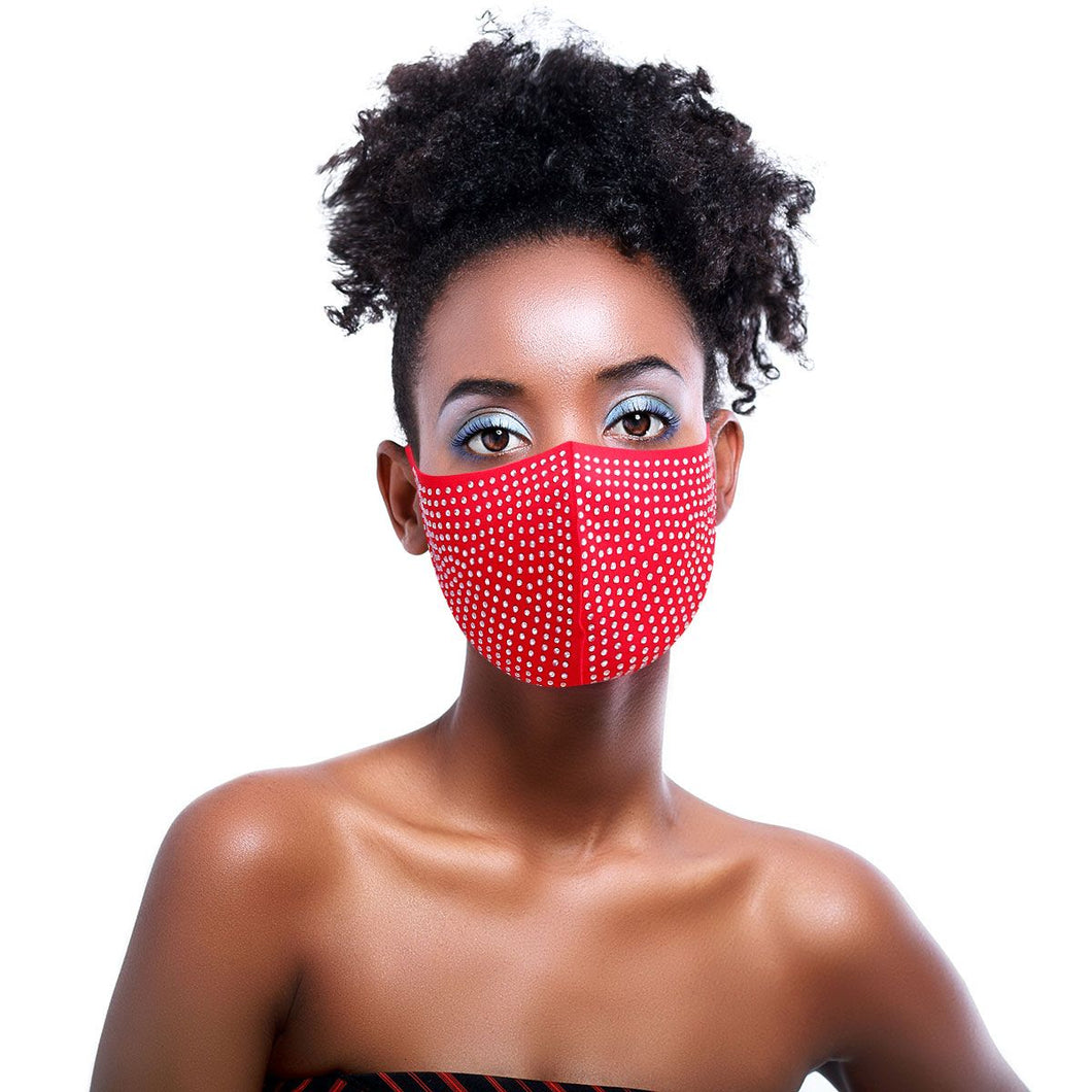 Crystal Rhinestone Bling Waterproof Fashion Face Mask - Red