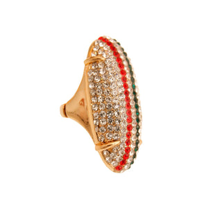 Rhinestone Elongated Ring