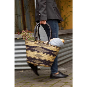Ghanaian Black Diamond Shopper with Leather Handles - Alkebulan Lifestyle