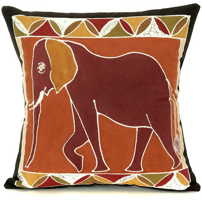 Zambian Hand Painted Bush Clay Elephant Pillow Cover - Alkebulan Lifestyle