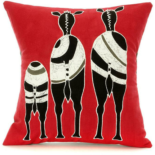 Zambian Hand Painted Red Zebra Family Pillow Cover - Alkebulan Lifestyle