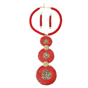 Red Bead Drop Necklace Set