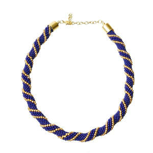 African Zulu Maasai Crochet Rope Bead Necklace - Blue