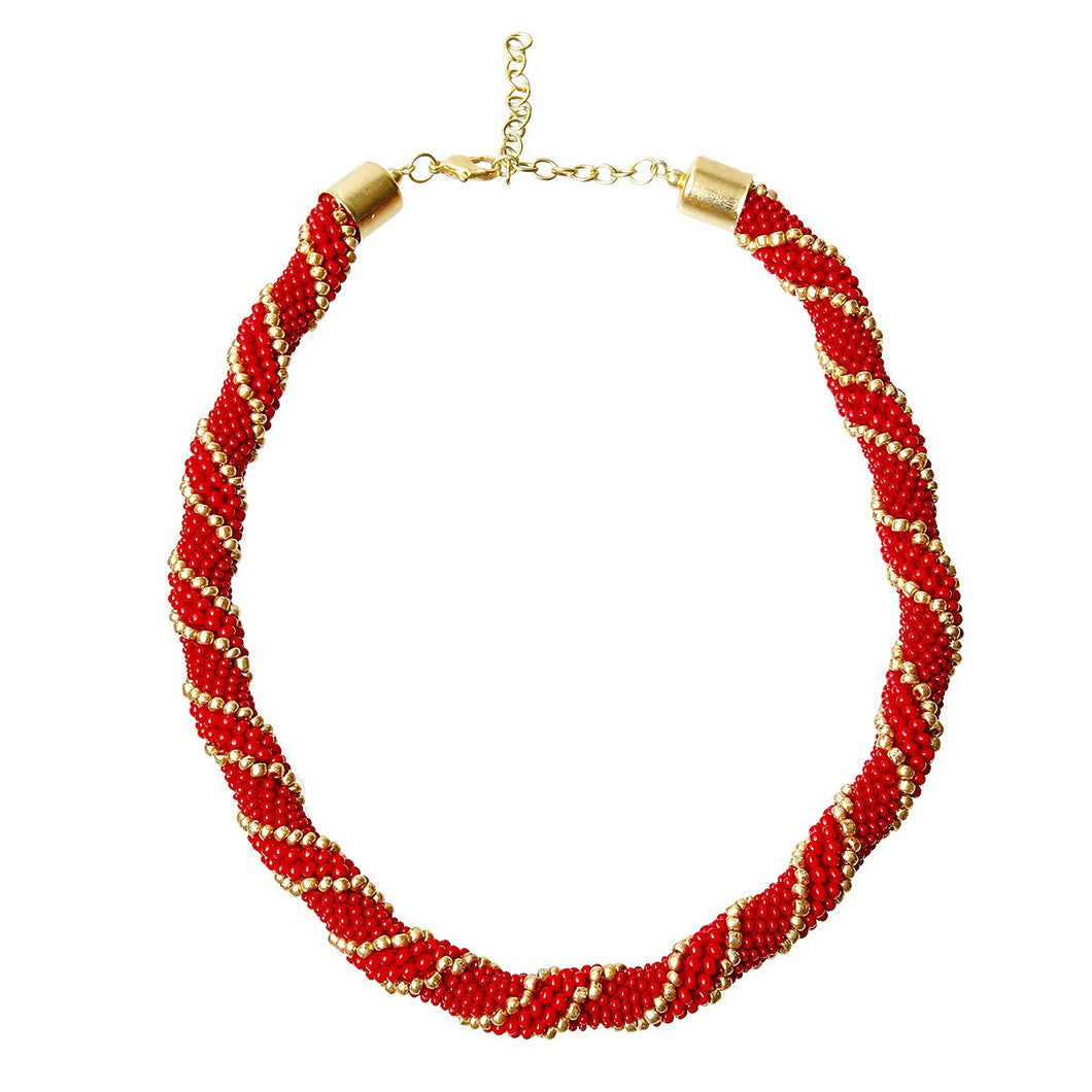 African Zulu Maasai Crochet Rope Bead Necklace