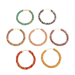 Rhinestone Encrusted Hoop Earrings - Multiple Colors