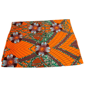 Orange African Ankara Wax Headscarves Headwrap Scarf Turban