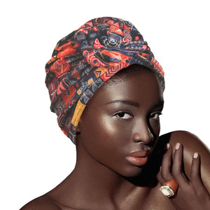 Navy Print Velvet Tribal Pre Tied Knot Turban Head Wrap Headwrap