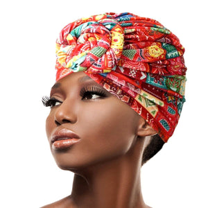 Multicolor Red Velvet Tribal Pre Tied Knot Turban