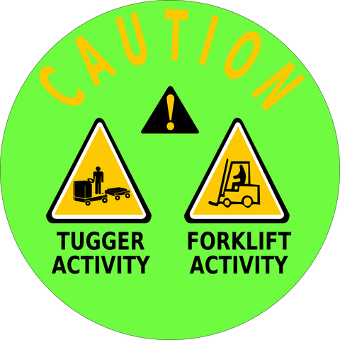 Caution Tugger/Forklift Activity Floor Sign