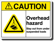 Caution Overhead Hazard Aluminum Sign