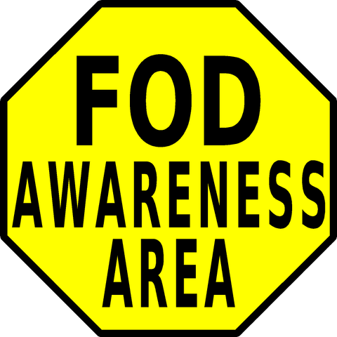 FOD Awareness Area Floor Sign
