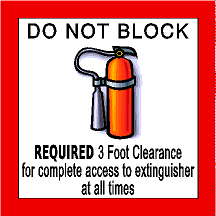 Do Not Block Floor  3 Foot Clearance Fire Extinguisher Sign