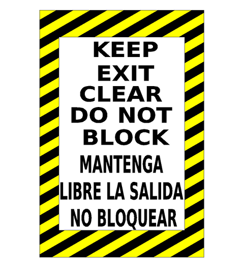 Keep Clear Do Not Block Floor Sign with Spanish