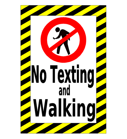 No Texting and Walking Floor Sign