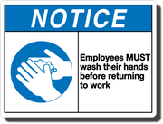 Notice Employees Must Wash Hands Aluminum Sign