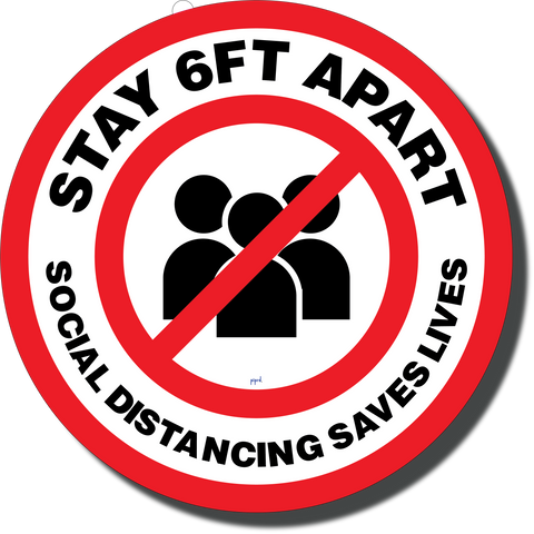 Stay 6 Ft. Apart Floor Sign